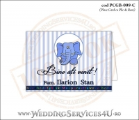 PCGB-009-C Place Card cu Plic de Bani sigilabil pentru Botez cu elefantel