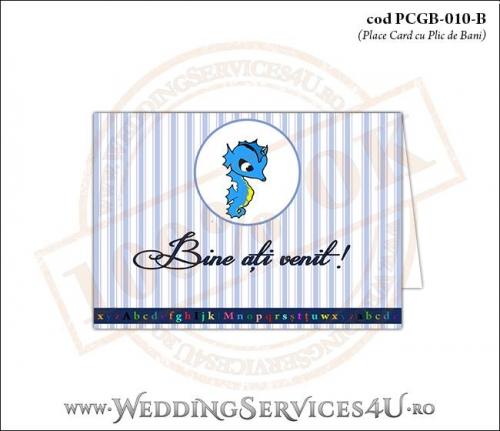 PCGB-010-B Place Card cu Plic de Bani sigilabil pentru Botez cu calut de mare