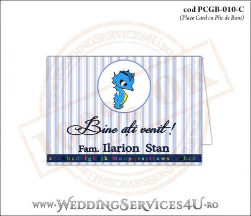 PCGB-010-C Place Card cu Plic de Bani sigilabil pentru Botez cu calut de mare