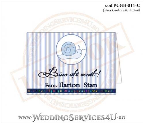 PCGB-011-C Place Card cu Plic de Bani sigilabil pentru Botez cu melc melc cotobelc