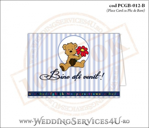 PCGB-012-B Place Card cu Plic de Bani sigilabil pentru Botez cu ursulet teddy bear