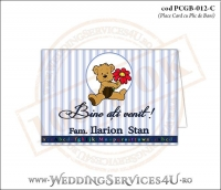 PCGB-012-C Place Card cu Plic de Bani sigilabil pentru Botez cu ursulet teddy bear