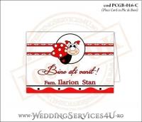 PCGB-016-C Place Card cu Plic de Bani sigilabil pentru Botez cu motive populare romanesti si gargarita