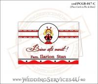 PCGB-017-C Place Card cu Plic de Bani sigilabil pentru Botez cu motive populare romanesti si gargarita