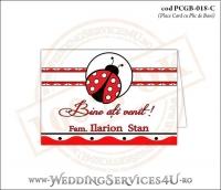 PCGB-018-C Place Card cu Plic de Bani sigilabil pentru Botez cu motive populare romanesti si gargarita