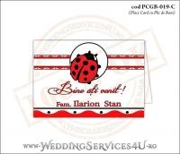 PCGB-019-C Place Card cu Plic de Bani sigilabil pentru Botez cu motive populare romanesti si gargarita