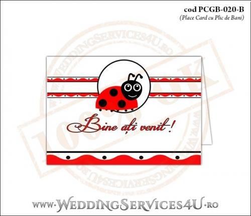 PCGB-020-B Place Card cu Plic de Bani sigilabil pentru Botez cu motive populare romanesti si gargarita