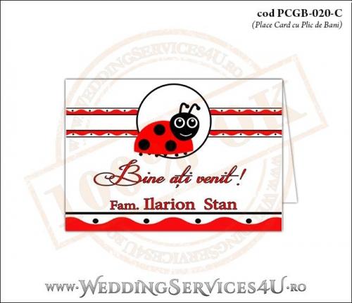 PCGB-020-C Place Card cu Plic de Bani sigilabil pentru Botez cu motive populare romanesti si gargarita