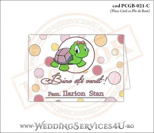 PCGB-021-C Place Card cu Plic de Bani sigilabil pentru Botez cu broscuta