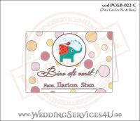 PCGB-022-C Place Card cu Plic de Bani sigilabil pentru Botez cu elefantel si vrabiuta