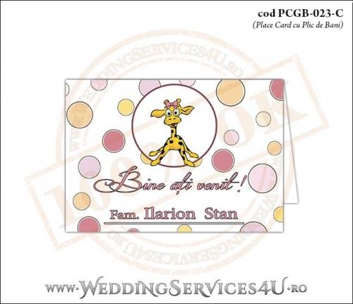PCGB-023-C Place Card cu Plic de Bani sigilabil pentru Botez cu cu pui de girafa