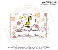 PCGB-024-C Place Card cu Plic de Bani sigilabil pentru Botez cu girafa