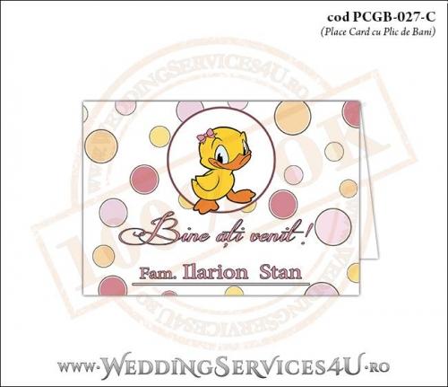 PCGB-027-C Place Card cu Plic de Bani sigilabil pentru Botez cu ratusca