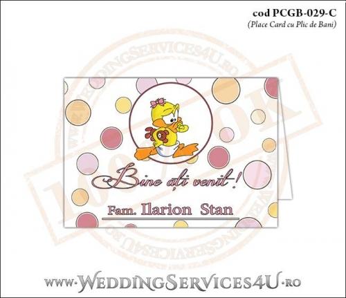 PCGB-029-C Place Card cu Plic de Bani sigilabil pentru Botez cu bebe ratusca
