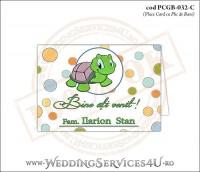 PCGB-032-C Place Card cu Plic de Bani sigilabil pentru Botez cu broscuta