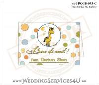PCGB-035-C Place Card cu Plic de Bani sigilabil pentru Botez cu girafa