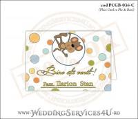 PCGB-036-C Place Card cu Plic de Bani sigilabil pentru Botez cu maimutica