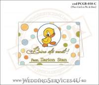 PCGB-038-C Place Card cu Plic de Bani sigilabil pentru Botez cu ratusca