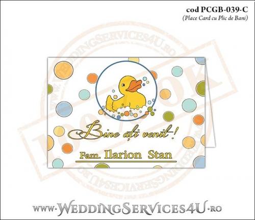 PCGB-039-C Place Card cu Plic de Bani sigilabil pentru Botez cu ratusca