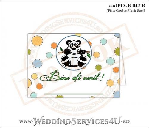 PCGB-042-B Place Card cu Plic de Bani sigilabil pentru Botez cu urs panda