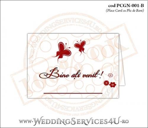 PCGN-001-B Place Card cu Plic de Bani sigilabil pentru Nunta sau Botez cu fluturi si flori rosii stilizate