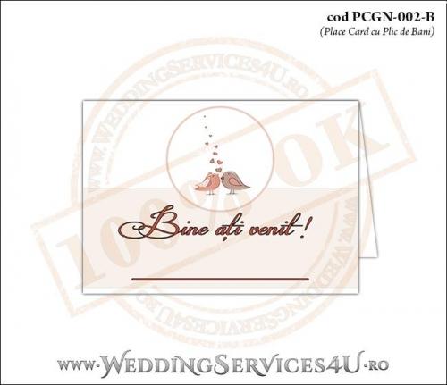 """PCGN-002-B Place Card cu Plic de Bani sigilabil pentru Nunta sau Botez """"lovebirds"""" cu doua vrabiute, mire si mireasa si multe inimioare"""