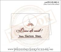 """PCGN-002-C Place Card cu Plic de Bani sigilabil pentru Nunta sau Botez """"lovebirds"""" cu doua vrabiute, mire si mireasa si multe inimioare"""
