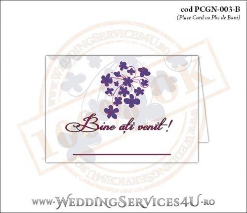 PCGN-003-B Place Card cu Plic de Bani sigilabil pentru Nunta sau Botez cu flori mov lila violet
