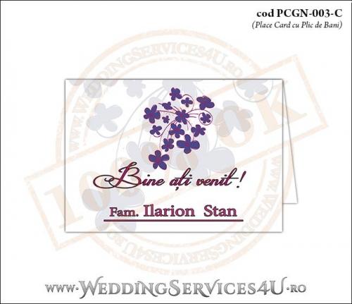 PCGN-003-C Place Card cu Plic de Bani sigilabil pentru Nunta sau Botez cu flori mov lila violet