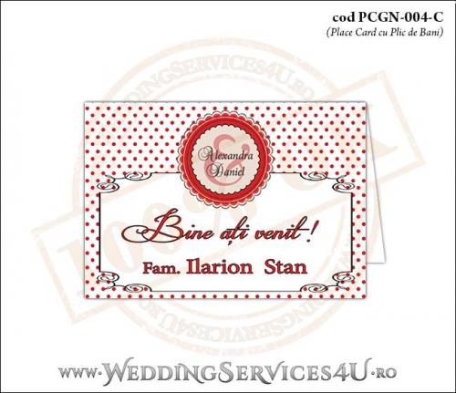 PCGN-004-C Place Card cu Plic de Bani sigilabil pentru Nunta sau Botez cu un model vintage retro si fundal cu buline rosii