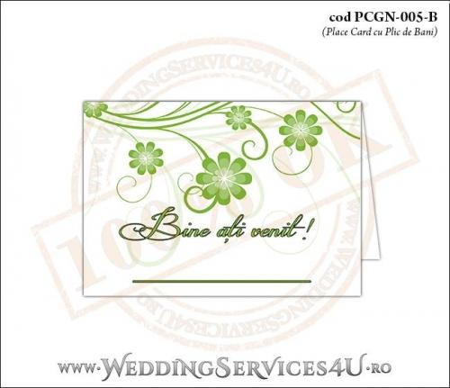 PCGN-005-B Place Card cu Plic de Bani sigilabil pentru Nunta sau Botez cu flori in nuante de verde