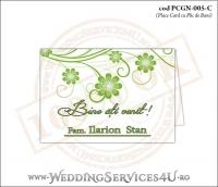 PCGN-005-C Place Card cu Plic de Bani sigilabil pentru Nunta sau Botez cu flori in nuante de verde