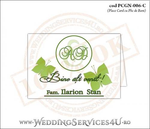 PCGN-006-C Place Card cu Plic de Bani sigilabil pentru Nunta sau Botez cu flori si fluturi in nuante verzi