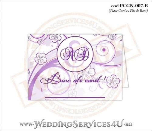 PCGN-007-B Place Card cu Plic de Bani sigilabil pentru Nunta sau Botez cu flori mov lila violet