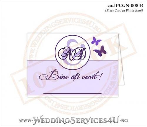 PCGN-008-B Place Card cu Plic de Bani sigilabil pentru Nunta sau Botez cu fluturi in nuante de mov lila violet