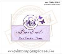 PCGN-008-C Place Card cu Plic de Bani sigilabil pentru Nunta sau Botez cu fluturi in nuante de mov lila violet