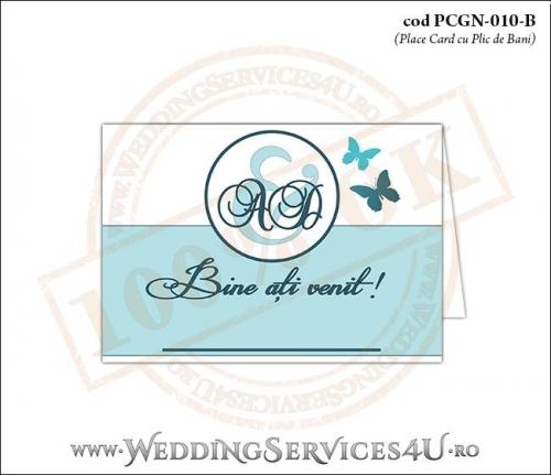PCGN-010-B Place Card cu Plic de Bani sigilabil pentru Nunta sau Botez cu fluturi in nuante de turcoaz