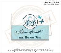 PCGN-010-C Place Card cu Plic de Bani sigilabil pentru Nunta sau Botez cu fluturi in nuante de turcoaz