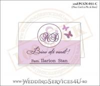 PCGN-011-C Place Card cu Plic de Bani sigilabil pentru Nunta sau Botez cu fluturi in nuante de roz prafuit