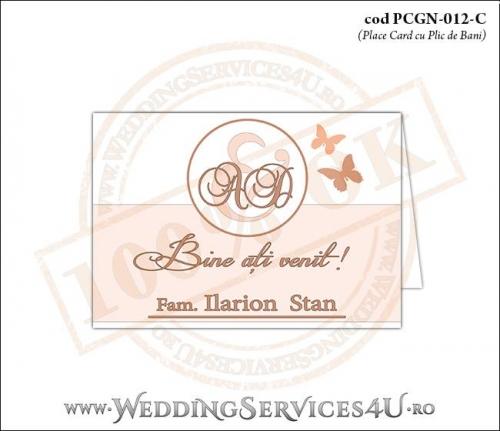 PCGN-012-C Place Card cu Plic de Bani sigilabil pentru Nunta sau Botez cu fluturi in nuante de peach