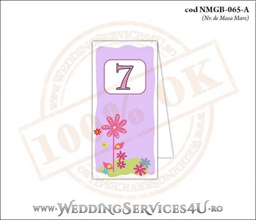 NMGB-065-A Numar de Masa pentru Botez cu fundal mov-lila si flori colorate