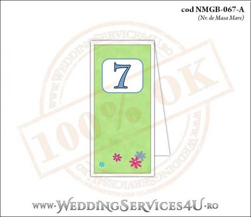 NMGB-067-A Numar de Masa pentru Botez cu 'gazon verde' si flori colorate