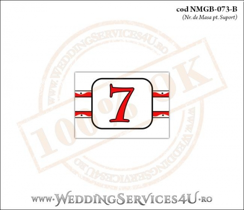 NMGB-073-B Numar de Masa pentru Botez cu motive populare si gargarite