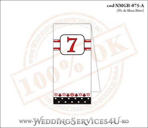 NMGB-075-A Numar de Masa pentru Botez cu motive populare si gargarite