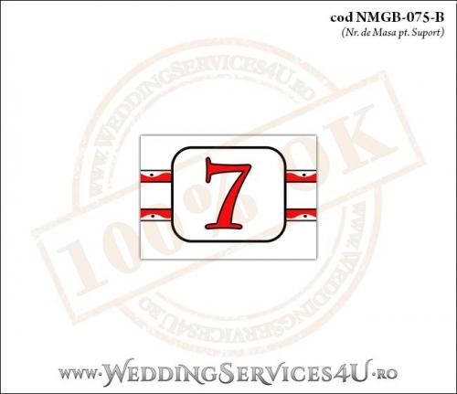 NMGB-075-B Numar de Masa pentru Botez cu motive populare si gargarite