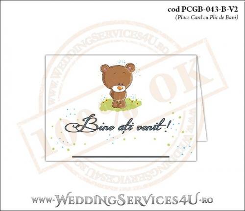 PCGB-043-B-V2 Place Card cu Plic de Bani sigilabil pentru Botez cu un ursulet pe o pajiste cu flori