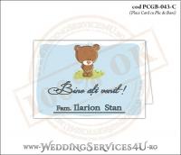 PCGB-043-C Place Card cu Plic de Bani sigilabil pentru Botez cu un ursulet pe o pajiste cu flori si cer albastru