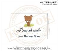 PCGB-043-C-V2 Place Card cu Plic de Bani sigilabil pentru Botez cu un ursulet pe o pajiste cu flori