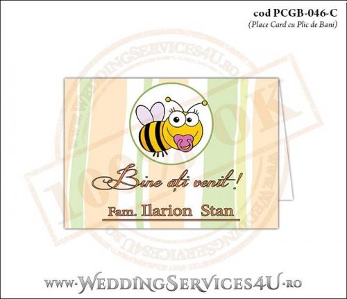 PCGB-046-C Place Card cu Plic de Bani sigilabil pentru Botez cu bebe albinuta