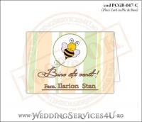 PCGB-047-C Place Card cu Plic de Bani sigilabil pentru Botez cu albinuta